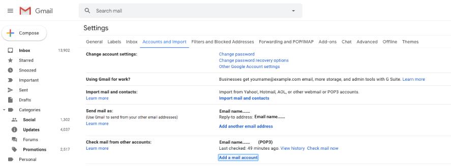 Gmail account settings menu