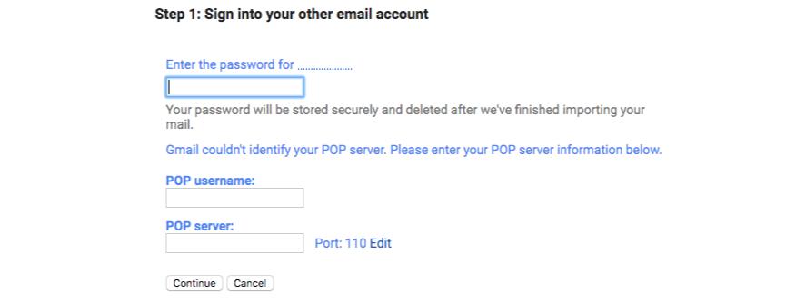Email server details