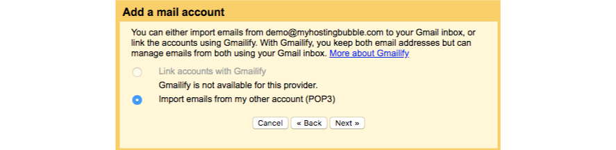 Import emails selector