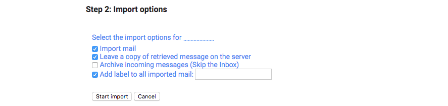 Gmail import options