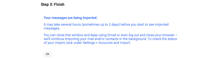 Gmail import finish message